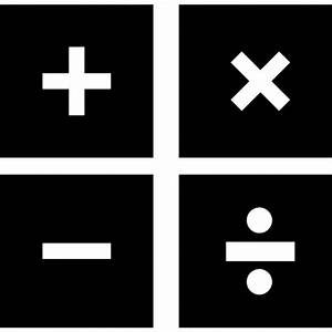 Mathematical symbols in four squares Icons | Free Download