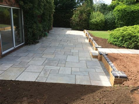 New Patio by New Indian Sandstone Patio Redmarley Gloucestershire