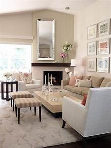 White Brick Fireplace - Cottage - living room - Nikie Barfield