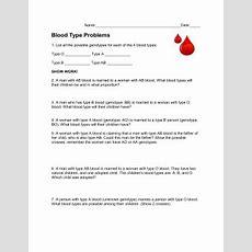 Blood Type Worksheet