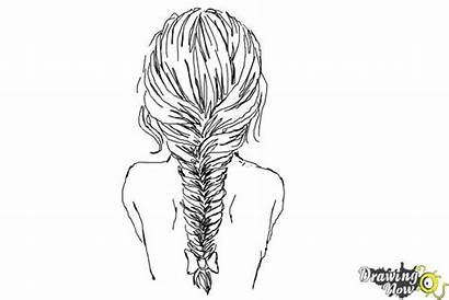 Draw Braid Fishtail Drawing Coloring Step Drawings