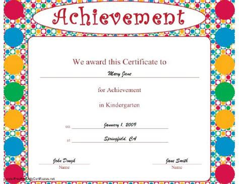 brightly colored certificate  achievement