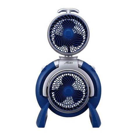 hunter 3 speed adjustable dual fan hunter adjustable 10 in 3 speed dual tower fan fsqq blue
