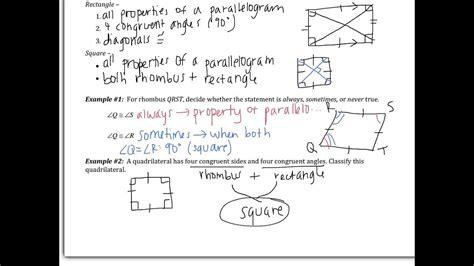 properties  rhombuses rectangles  squares