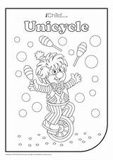Unicycle Juggler Colouring Activity Ichild Log sketch template