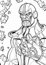 Thanos Coloring Infinity Pages Printable Gauntlet Marvel Line Avengers Drawing Cute Lego Comic Boys War Superhero Chibi Books Children Drawings sketch template