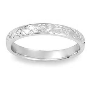 gold wedding band womens womens antique floral engraved wedding band in 14k white gold