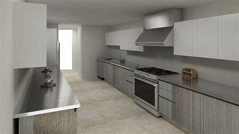 cocina lineal en combinacion gris  blanco cocinas