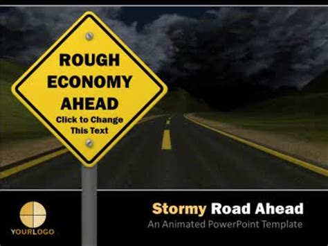 stormy road   education powerpoint template