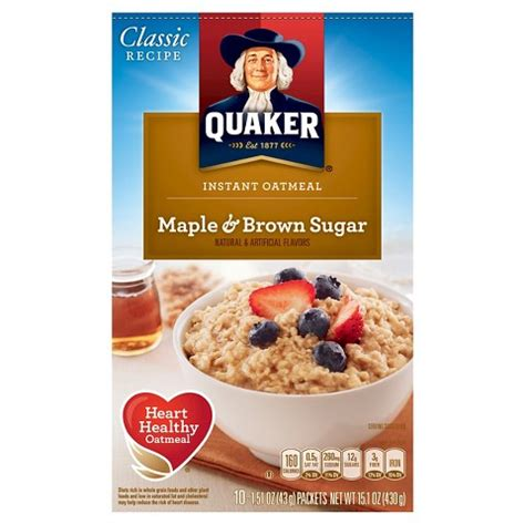 quaker cooking oatmeal quaker instant oatmeal maple brown sugar 10 ct target