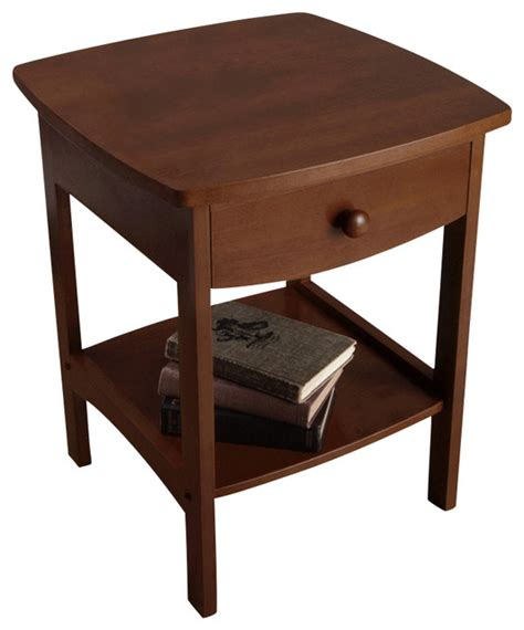 Curved Nightstand by Winsome Wood Curved End Table Nightstand W One Drawer
