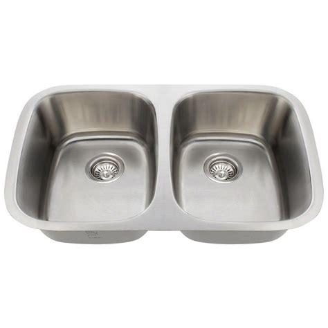 stainless steel undermount kitchen sink double bowl polaris sinks undermount stainless steel 29 in double