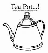 Coloring Tea Teapot Drink Fashioned Kettle Clipart Outline Easy Printable Drawing Coffee Chocolate Template Pot Simple Words English Funny sketch template