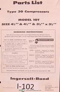 Ingersoll Rand Model 10t  Type 30 Compressor Parts List Manual
