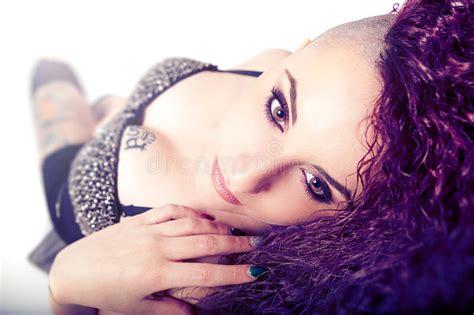 Punk Girl, Face Makeup. Beauty And Tattoo. Stock Photo