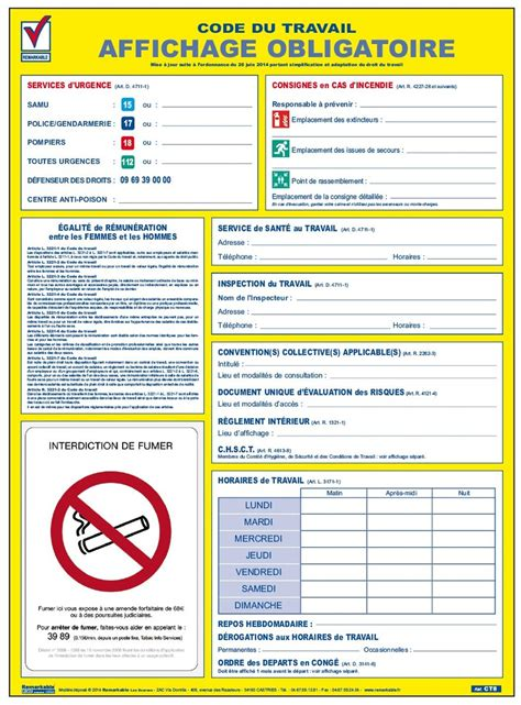 affichage bureau informations lgales du salari cd80