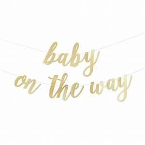 Baby On The Way Script Glitter Banner – Alexis Mattox Design