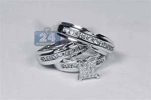 bride groom diamond wedding 3 ring set 14k white gold 134 ct With wedding rings for groom