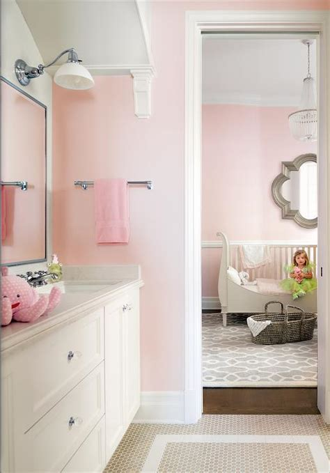 Pink Tile Bathroom Ideas by White And Beige Bathroom With Beige Hexagon Wallpaper