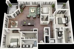 50 Three  U201c3 U201d Bedroom Apartment  House Plans
