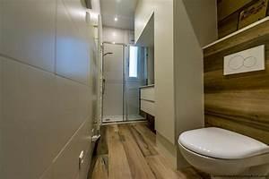 salle de bain couloir carrelage imitation parquet wc With salle de bain carrelage imitation parquet