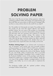 Problem Solution Research Paper Solving