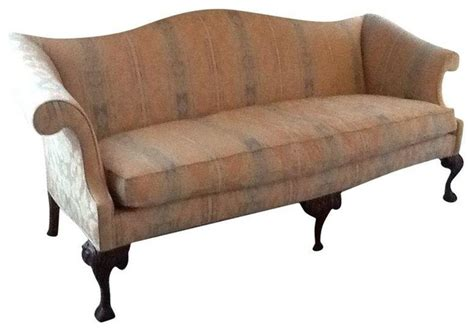 Transitional Living Room Leather Sofa by Pre Owned Queen Style Camelback Sofa Transitional