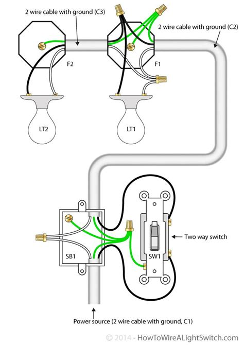 wiring up a light switch 2 way switch with power feed via switch multiple lights