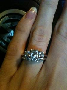 show me your 3 stone rings with wedding band updated With three stone engagement ring with wedding band
