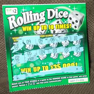 Rolling Dice Losing VA Lottery Ticket - $2, Gordogato's ...