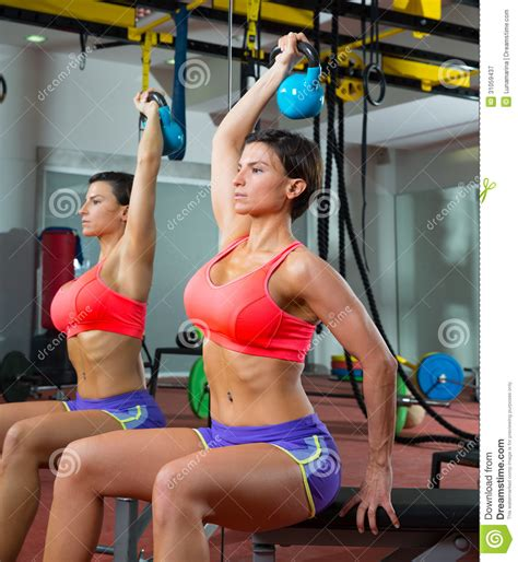 crossfit mirror weight kettlebell woman lifting fitness gym workout exercise royalty dreamstime bell