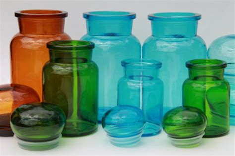 mod colored glass bottles vintage kitchen canisters