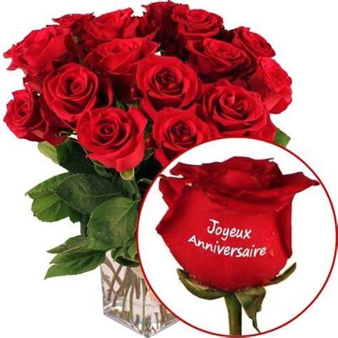 bouquet de fleurs anniversaire photo roses marqu 233 es quot joyeux anniversaire quot livraison express florajet