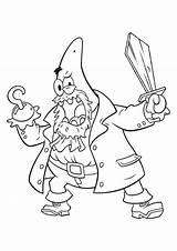 Coloring Spongebob Pirate Pages Patrick Printable Squarepants Outline Drawing Getcoloringpages sketch template