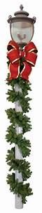 Decorative, Lamp, Post, Garland, And, Bows, -, Traditional, -, Christmas, Decorations