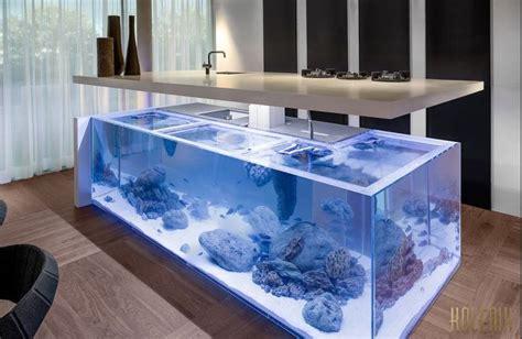 plan de travail central cuisine cuisine design aquarium