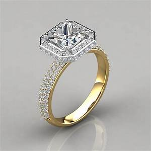 trio micro pave princess cut halo engagement ring With wedding rings halo style