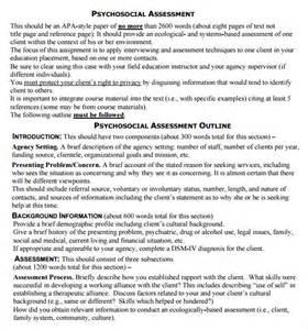 Social Work Psychosocial Assessment Sample