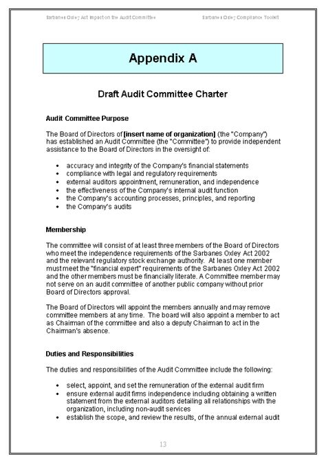 committee charter template sarbanes oxley audit committee guide