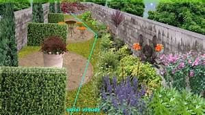 plan de jardin etroit creer un jardin en longueur With attractive exemple d amenagement de jardin 7 murets au jardin