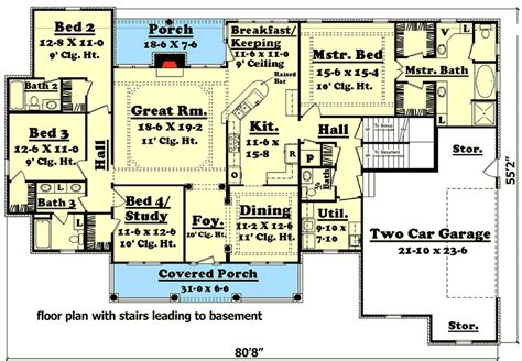 4 Bedroom House Plans With Basement by 4 Bedroom House Plan With Options 11712hz