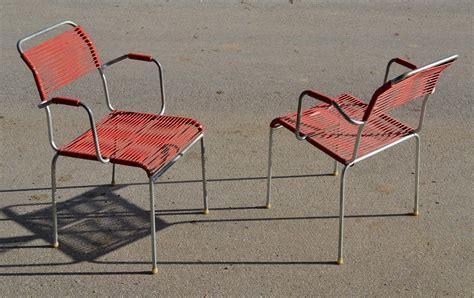 chaise en fil plastique embru bigla mobilier d 39 extérieur tubulaire vintage suisse
