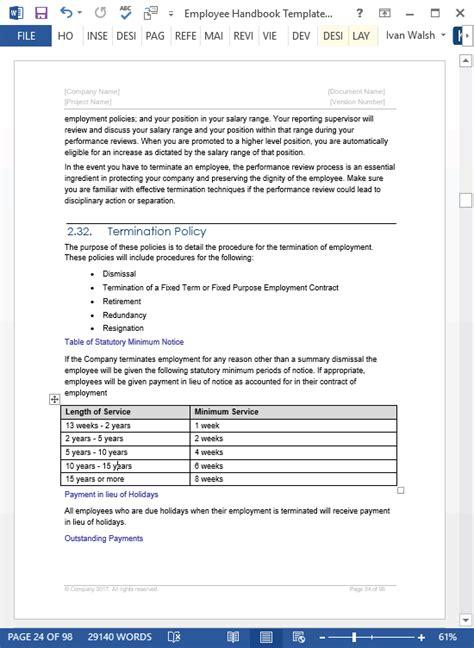 employee handbook templates ms word  policy manual