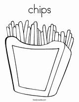 Coloring Chips Fries French Twisty Outline Noodle Twistynoodle Favorites Login Built California Usa Ll sketch template