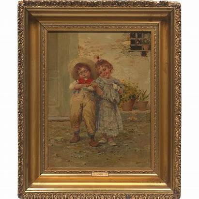 19th Century Painting Oil Italian Artist Children
