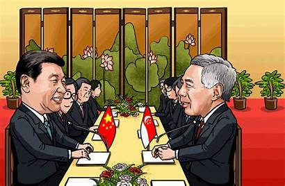 China Singapore Cooperation Xi Cartoon President Vietnam