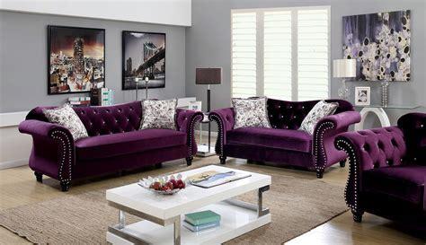 Plum Flannelette Fabric Sofa Set