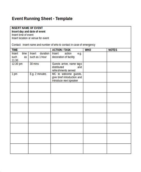 run sheet templates    premium templates