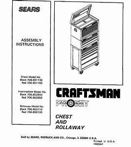 Craftsman 706650110 User Manual Tool Chest Manuals And