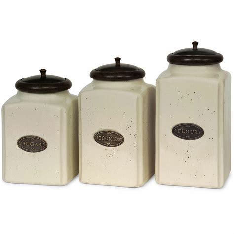 Ceramic Canister Sets For Kitchen by 3 Ivory Ceramic Canister Set Kitchen Home Storage